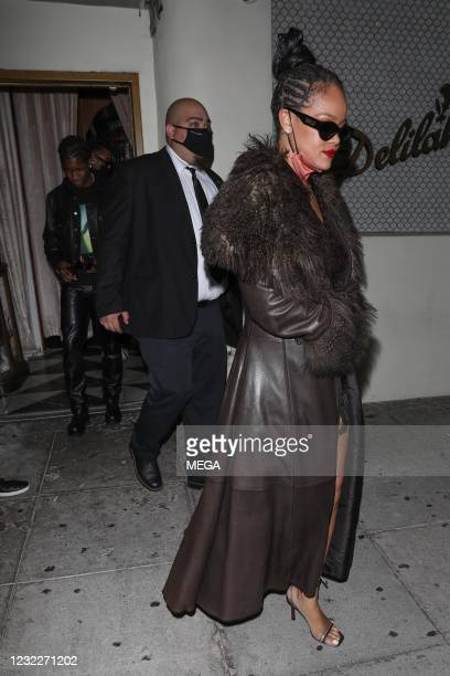 Rocky and Rihanna are seen leaving Delilah on April 12, 2021 in Los Angeles, California.