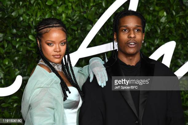 Rocky and Rihanna arrive at The Fashion Awards 2019 held at Royal Albert Hall on December 02 2019 in London England