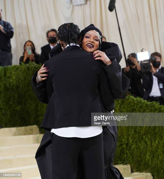 Rocky and Rihanna attend 2021 Costume Institute Benefit - In America: A Lexicon of Fashion at the Metropolitan Museum of Art on September 13, 2021 in...