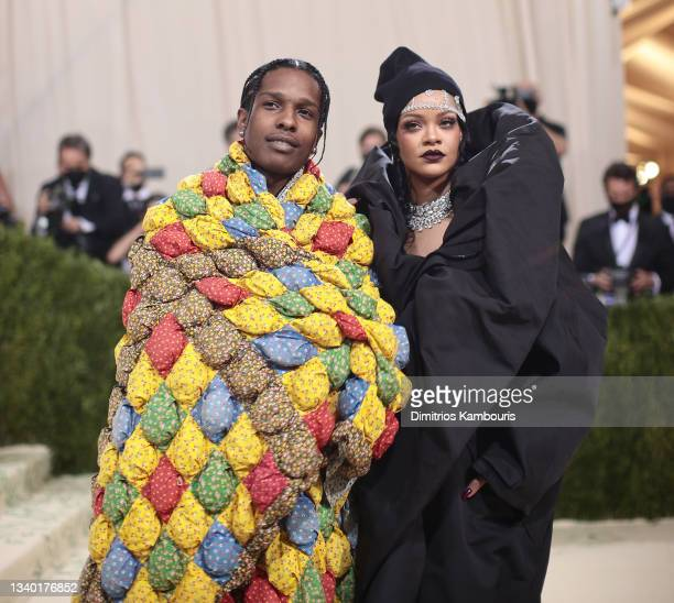 Rocky and Rihanna attend The 2021 Met Gala Celebrating In America: A Lexicon Of Fashion at Metropolitan Museum of Art on September 13, 2021 in New...