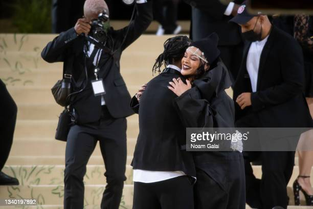 Rocky and Rihanna attend the 2021 Met Gala celebrating 'In America: A Lexicon of Fashion' at The Metropolitan Museum of Art on September 13, 2021 in...
