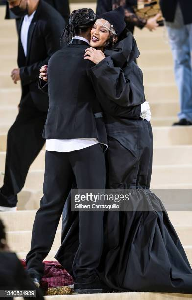 Rocky and Rihanna attend The 2021 Met Gala Celebrating In America: A Lexicon Of Fashion at The Metropolitan Museum of Art on September 13, 2021 in...