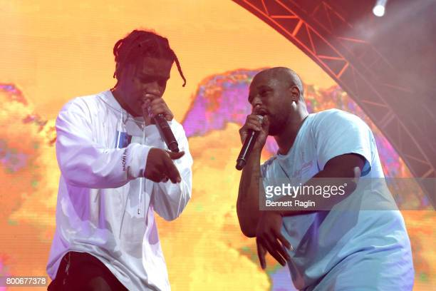 Rocky and ScHoolboy Q perform onstage at night three of the STAPLES Center Concert sponsored by Sprite during the 2017 BET Experience at Staples...