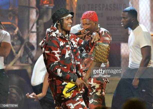 Rocky and YG perform onstage during the BET Hip Hop Awards 2018 at Fillmore Miami Beach on October 6 2018 in Miami Beach Florida