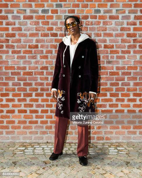 Rocky arrives at the Gucciy show during Milan Fashion Week Fall/Winter 2017/18 on February 22 2017 in Milan Italy