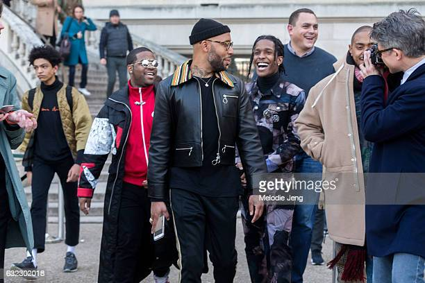 Rocky ASAP Ferg and stylist Matthew Hensonat the Dior Homme show at Grand Palais on January 21 2017 in Paris France