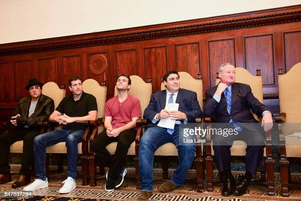Rocky Balboa Film Producer Doug Robinson Actor Troy Gentile Producer Adam F Goldberg and Philadelphia Mayor Jim Kenney sit together during an event...