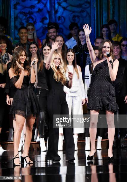 Rocky Barnes Kimmie Sussman and Louise Roe speak on stage at the COTTON INC show at New York Fashion Week Powered By Art Hearts Fashion at The Angel...