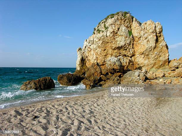 rocky bay with beach on the peninsula pilion thessaly greece - thessaly stock pictures, royalty-free photos & images