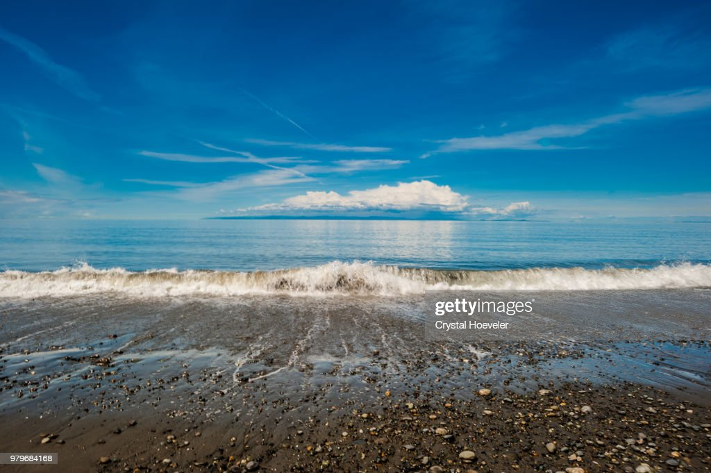 Rocky beach and sea, Dungeness, England, UK : Stock Photo