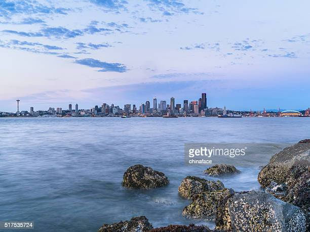 rocky beach in sunset, puget sound, alki beach, Seattle, usa