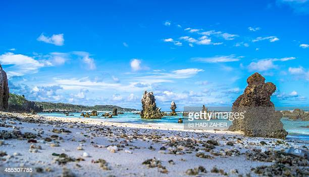 rocky beach | nauru | south pacific - nauru stock pictures, royalty-free photos & images