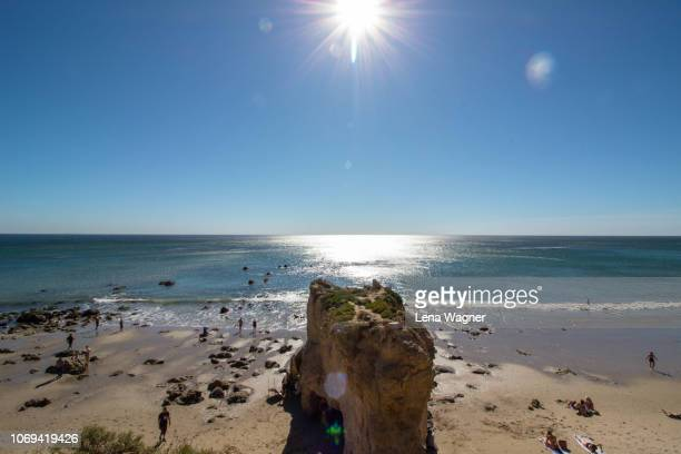 rocky beach scene - malibu beach stock pictures, royalty-free photos & images