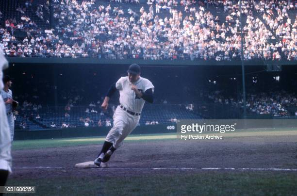 Rocky Bridges of the Detroit Tigers rounds third base during an MLB game against the Cleveland Indians on July 5 1959 at Briggs Stadium in Detroit...