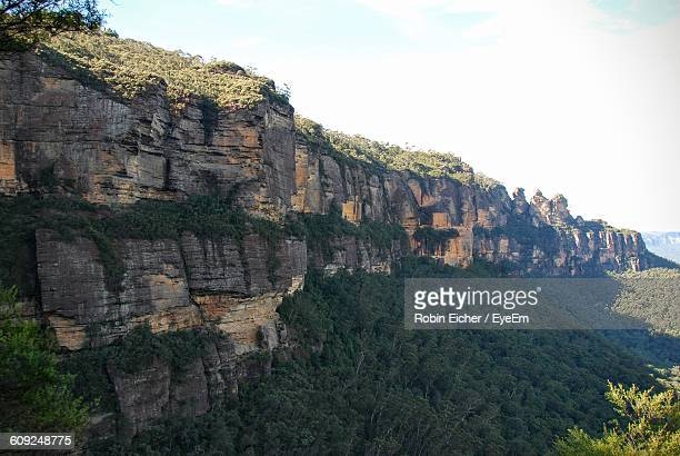 Rocky Cliffs At Blue Mountains National Park Against Sky