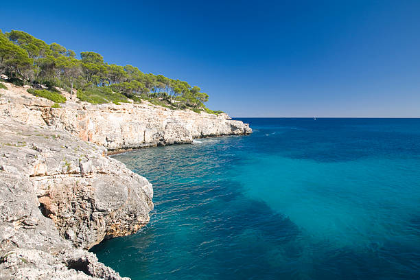 Rocky coast, Cala Mondrago, Mallorca, Spain