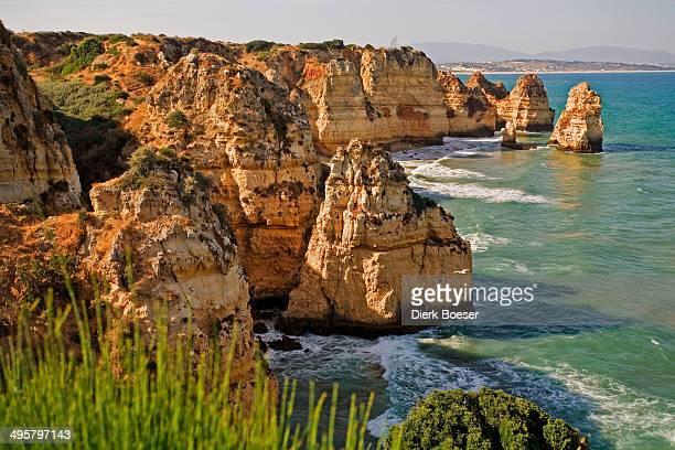 Rocky coast of Praia de Dona Ana, Lagos, Algarve, Portugal