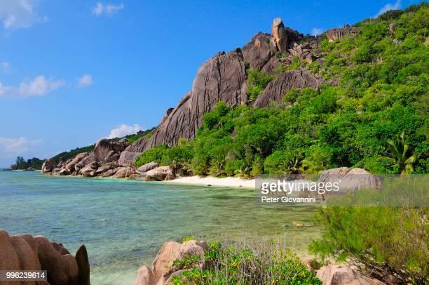 Rocky coast with tropical vegetation, La Digue Island, La Digue and Inner Islands, Seychelles