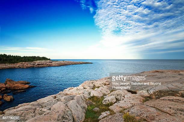 Rocky Coastline Along Cabot Trail in Cape Breton Island