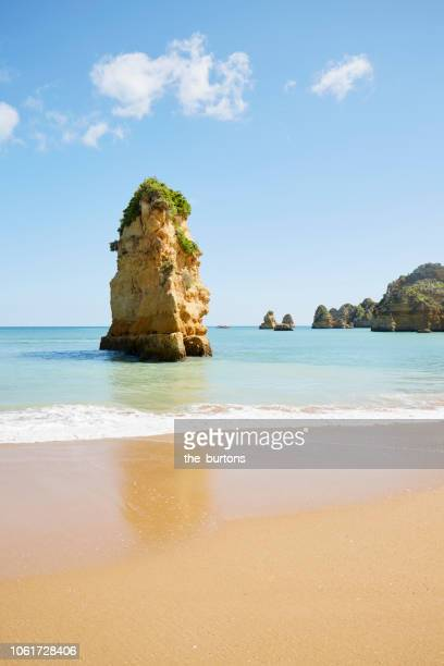 Rocky coastline and beach in Portugal (Praia Dona Ana, Algarve)