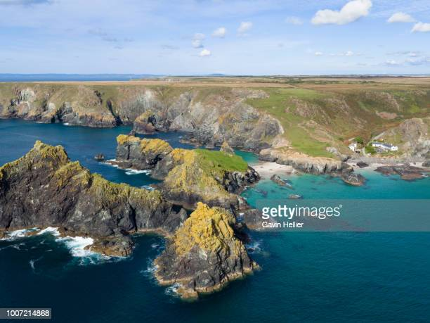 rocky coastline and beaches at kynance cove, the lizard, cornwall, england, united kingdom, europe (drone) - gavin hellier stock pictures, royalty-free photos & images
