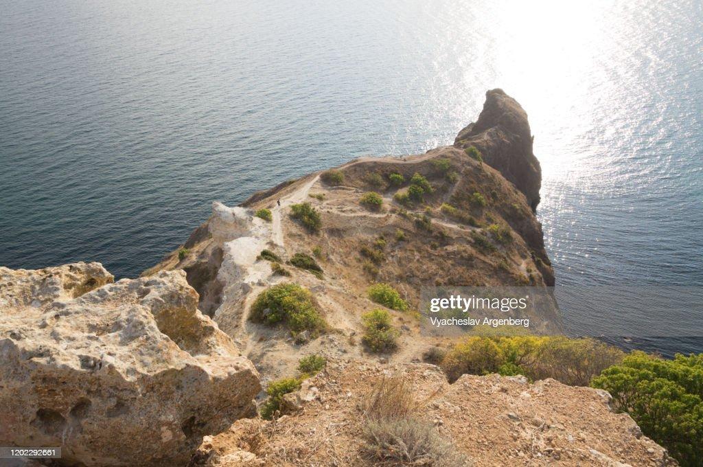 Rocky coastline around Cape Fiolent, South Crimea : Stock Photo