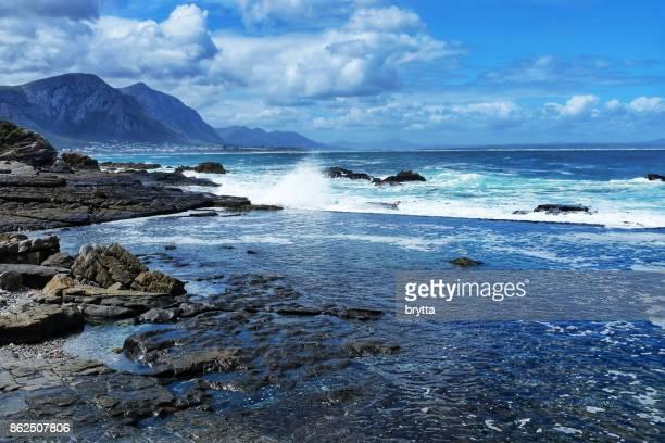 Rocky coastline in Hermanus,South Africa
