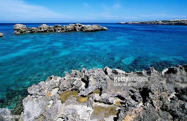 Rocky coastline near Es Pujols Formentera Balearic Islands Spain
