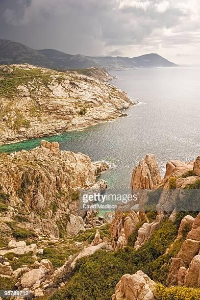 Rocky coastline north of Porto, Corsica.