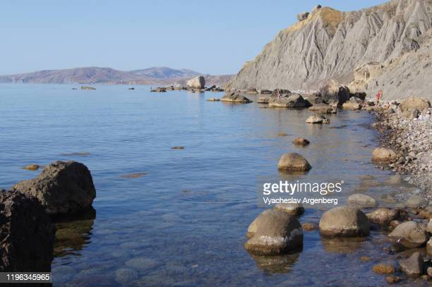 rocky coastline of black sea, bay of water, crimea - argenberg stock pictures, royalty-free photos & images