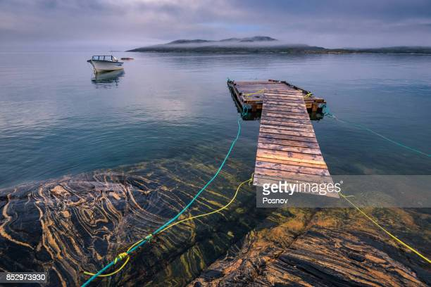 rocky coastline of hopedale - newfoundland and labrador stock pictures, royalty-free photos & images