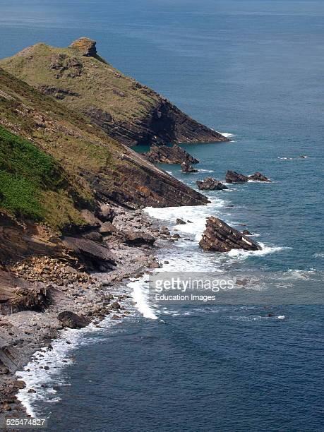 Rocky coastline of North Cornwall Millock Bude Cornwall UK