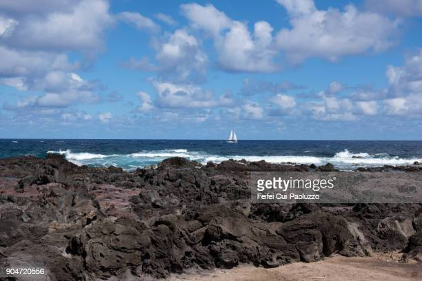 Rocky coastline of Rano Raraku, Easter Island, Chile