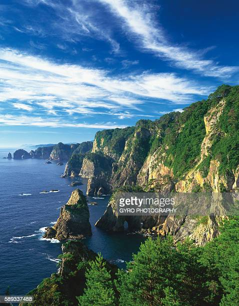 rocky coastline - iwate prefecture stock photos and pictures