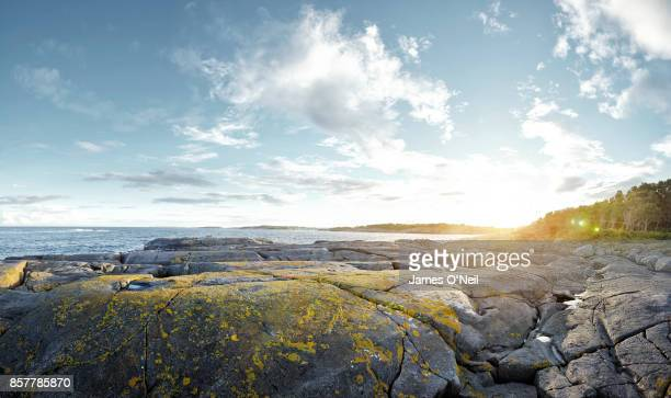 rocky coastline plateau at sunset - moody sky stock pictures, royalty-free photos & images