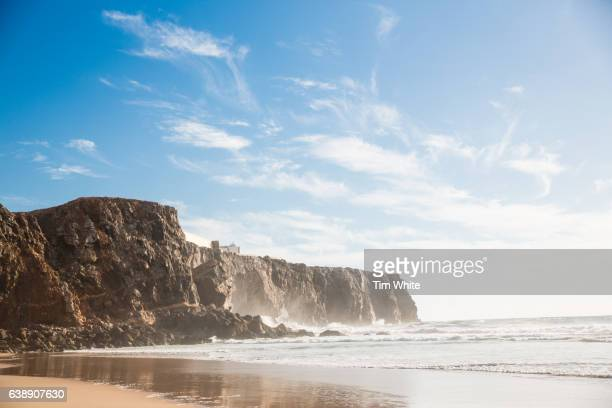 rocky coastline, sagres, portugal - sagres stock pictures, royalty-free photos & images