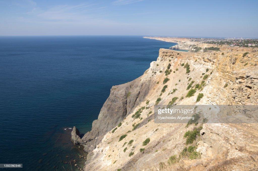 Rocky coastline west of Cape Fiolent, Black Sea, Crimea : Stock Photo
