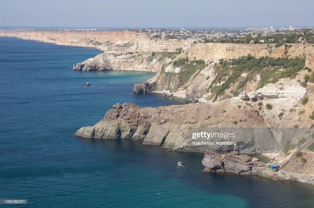 Rocky coastline west of Cape Fiolent, Crimea : Stock Photo
