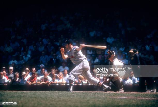 Rocky Colavito of the Cleveland Indians swings at the pitch during an MLB game against the Detroit Tigers on July 5 1959 at Briggs Stadium in Detroit...