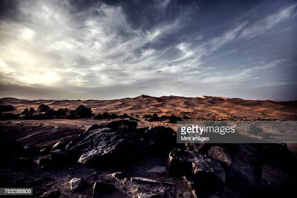 Rocky desert landscape with distant sand dunes under a cloudy sky.