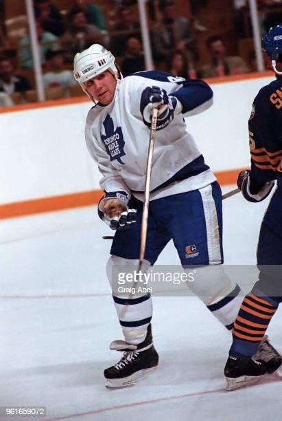 Rocky Dundas of the Toronto Maple Leafs skates against the Buffalo Sabres during NHL preseason game action on September 30 1989 at Maple Leaf Gardens...