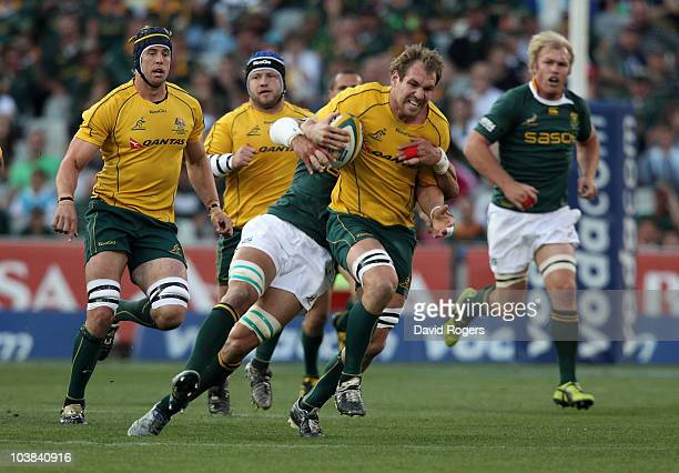 Rocky Elsom of the Wallabies charges upfield during the 2010 TriNations match between the South African Springboks and the Australian Wallabies at...
