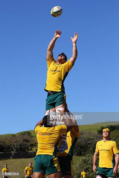 Rocky Elsom of the Wallabies jumps in the lineout during an Australian Wallabies training session at Crawfords School on August 11 2011 in Durban...