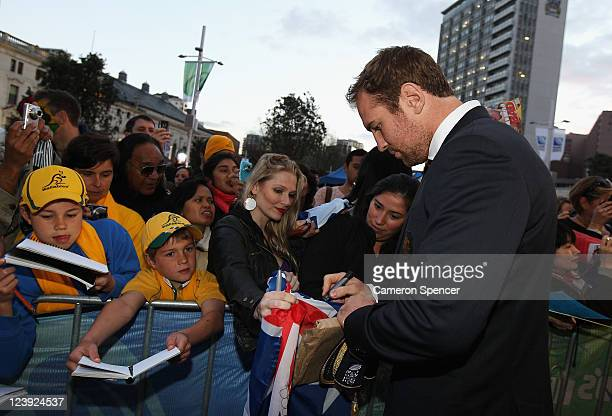 Rocky Elsom of the Wallabies signs autographs during the Australian Wallabies IRB Rugby World Cup 2011 official team welcome ceremony at Aotea Square...