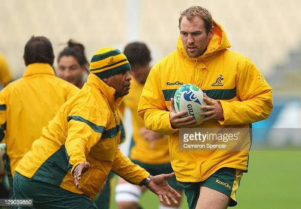 Rocky Elsom of the Wallabies warms up during an Australia IRB Rugby World Cup 2011 training session at North Harbour Stadium on October 12 2011 in...