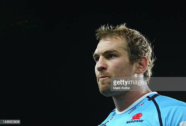 Rocky Elsom of the Waratahs looks dejected after the Waratahs defeat in the round 10 Super Rugby match between the Waratahs and the Crusaders at...