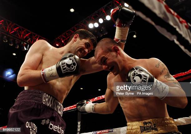 Rocky Fielding and Wayne Reed in their English Super Middleweight Title fight at the Echo Arena Liverpool