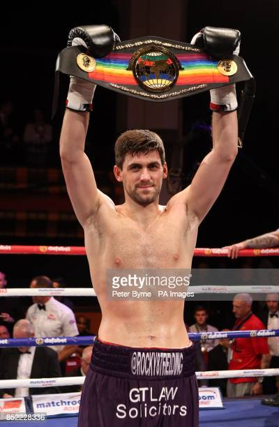 Rocky Fielding celebrates his victory over Mohammed Akrong during the vacant Commonwealth Supermiddleweight Title bout at Liverpool Olympia Liverpool