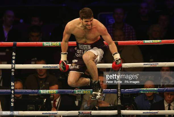 Rocky Fielding celebrates knocking down Luke Blackledge in their Commonwealth Super Middleweight Title fight at the Phones 4u Arena Manchester