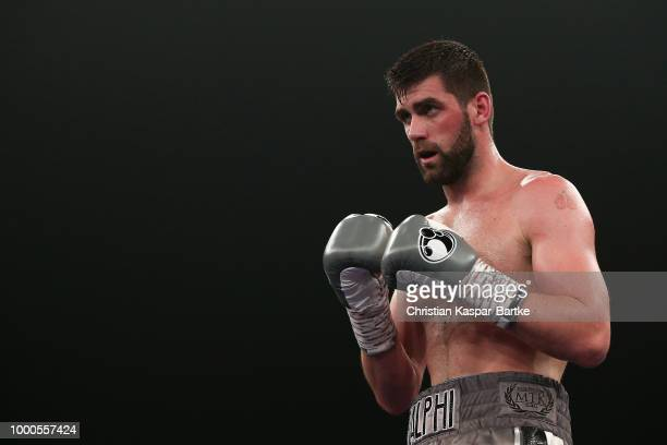 Rocky Fielding gestures prior his WBA Super Middleweight World Championship title fight between Tyron Zeuge an Rocky Fielding at BadenArena on July...